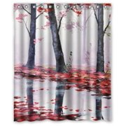 HelloDecor Itautumn Trees Red Leaves River Stall Shower Curtain Polyester Fabric Bathroom Decorative Size 60x72