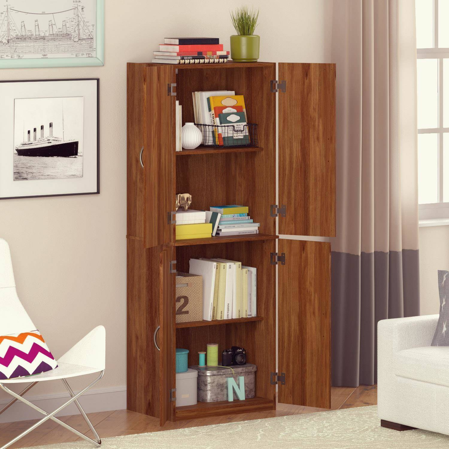 Living Room Cabinets With Doors Mainstays Storage Cabinet Multiple Finishes Walmartcom