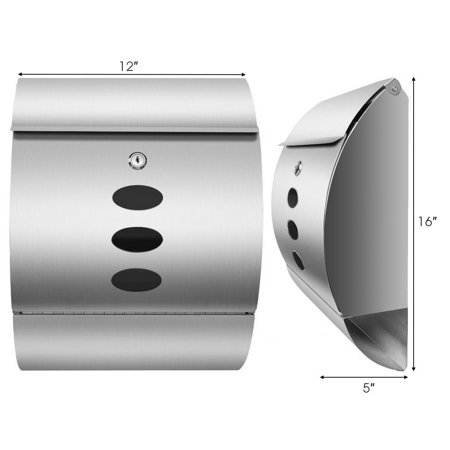 Gymax Wall Mount Mail Box Stainless Steel - image 4 de 10
