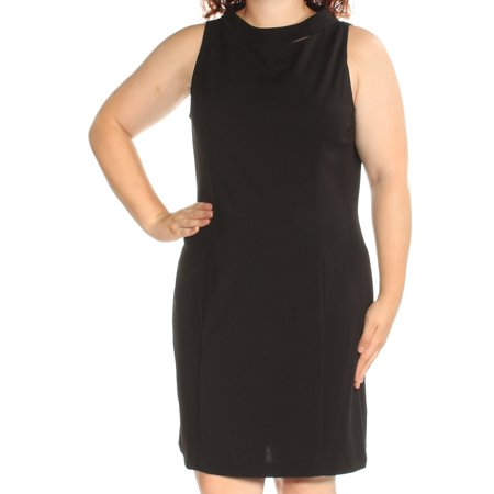 AMERICAN DREAM Womens Black Sleeveless Jewel Neck Knee Length Sheath Dress  Size: 18
