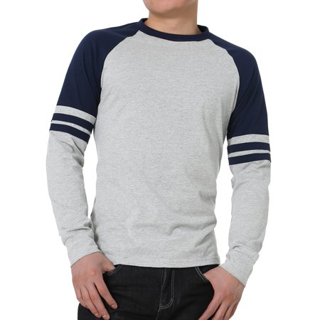 Unique Bargains Men's Long Sleeves Color Block Stripes Crew Neck Raglan Varsity T-Shirt Color Block Raglan Tee