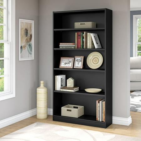 Bush Furniture Universal 5 Shelf Bookcase in Classic Black ()