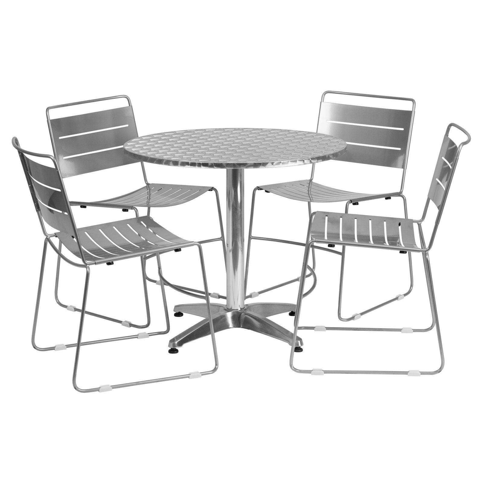 "Flash Furniture 31.5"" Round Aluminum Indoor-Outdoor Table with 4 Metal Stack Chairs, Multiple Colors"