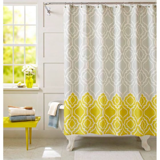 Better homes and gardens graphic trellis shower curtain tropical citron for Better homes and gardens shower curtains
