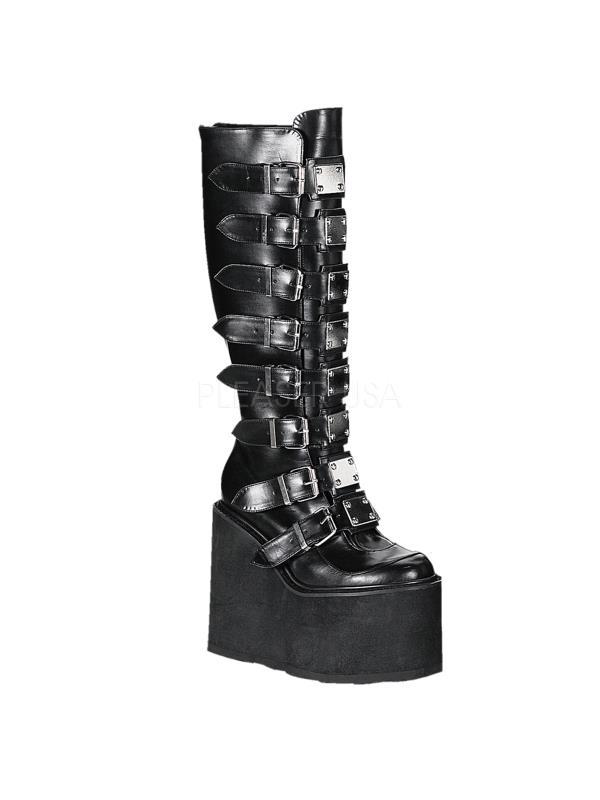SWI815/B/PU Demonia Vegan Boots Womens BLACK Size: 9