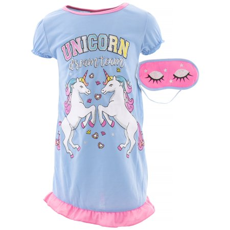 Blue Nightgown (Sweet N Sassy Girls Unicorns Blue Nightgown )