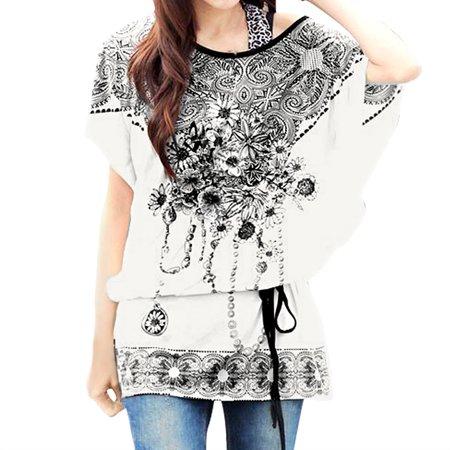 Unique Bargains Womens Floral Prints Loose Fit Tunic Top Shirt W Waist String White  Size M   8