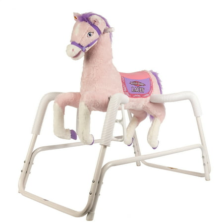 Rockin Rider Lacey Deluxe Talking Plush Pink Spring Horse, Animated