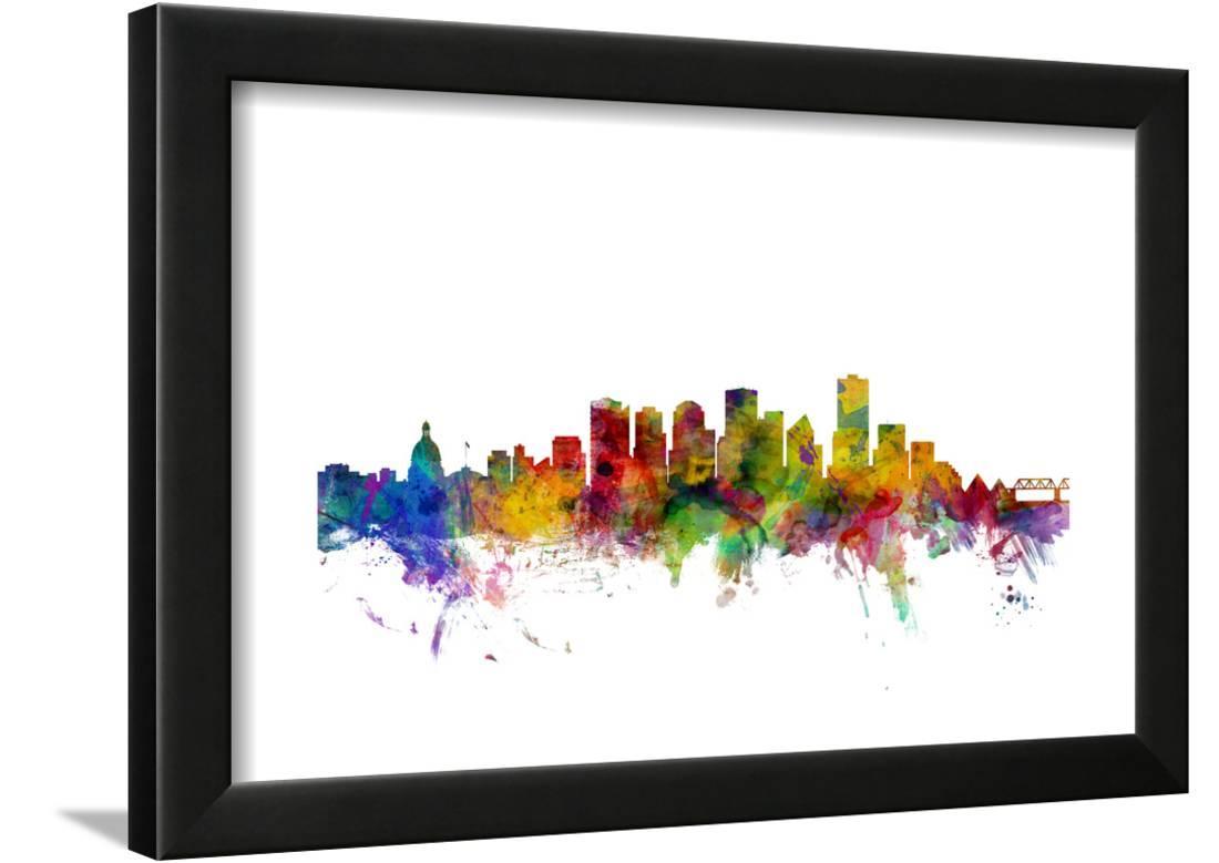 Edmonton Canada Skyline Framed Print Wall Art By Michael Tompsett ...