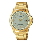 MTP-VS02G-9A Men's Solar Powered Gold Tone Gold Dial Date Analog Watch