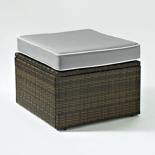 Crosley Furniture KO70091BR-GY Palm Harbor Resin Wicker Outdoor Ottoman (Brown/Grey)