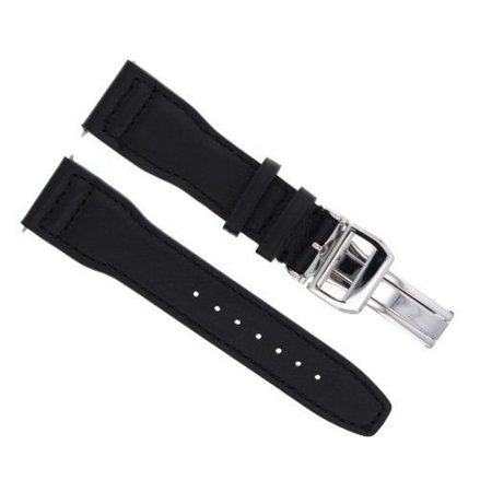 23MM LEATHER WATCH STRAP BAND DEPLOYMENT CLASP FOR IWC PILOT BLACK SHINY #SC-1 (23mm Leather Watch Band)