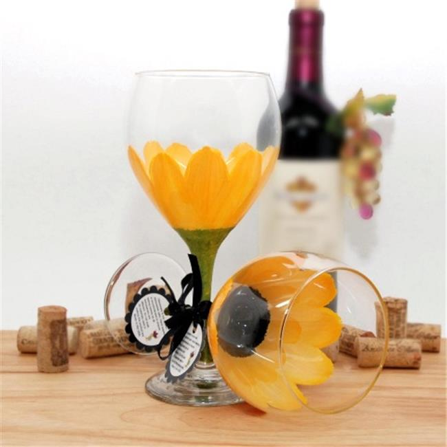 Judi Painted it DA-SBY Daisy Painted Wine Glass, School Bus Yellow