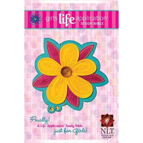 Girls Life Application Study Bible: New Living Translation, Teal / Glittery Gold Blossom, LeatherLike