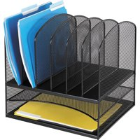 Safco, Onyx 2 Horizontal/6 Upright Desk Organizer, 1 Each, Black