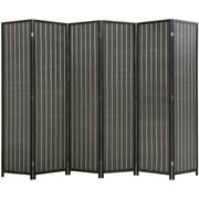 """FDW Bamboo Folding Privacy 6 Panel Room Divider , 72"""" Tall, Black"""