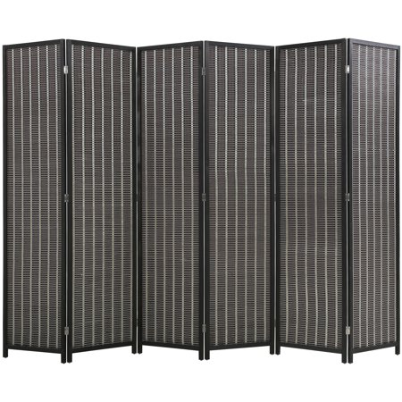 6 Panel 72 Inch Room Divider Bamboo Folding Privacy Wall Divider Wood Screen for Home Bedroom Living Room, Black
