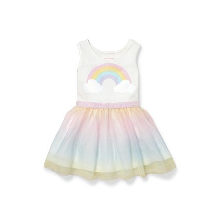 Knit To Woven Glitter Rainbow Dress (Baby Girls & Toddler - Baby Girl Rainbow Dress