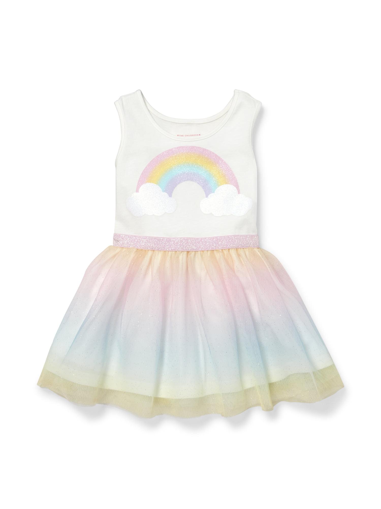 Knit To Woven Glitter Rainbow Dress (Baby Girls & Toddler Girls)