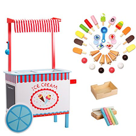 Ice Cream Cart by Svan - Real Wood Construction, with Money Box, Chalkboard, Chalk and Over 30 Ice Cream Pieces - Kids Ice Cream Cart