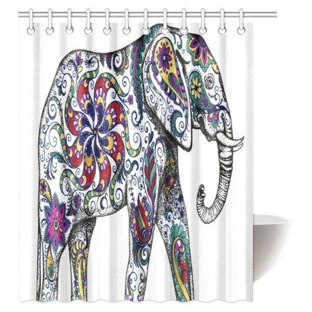 Mypop Elephant House Decor Shower Curtain Indian Aztec Elephant Tribal Blue Floral Flower Bathroom Shower Curtain Set With Hooks 60 X 72 Inches