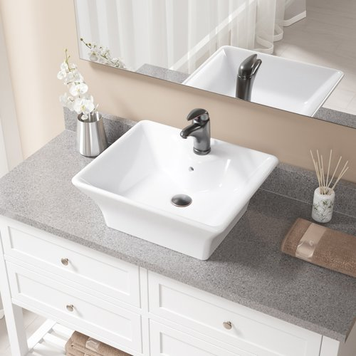 MR Direct Porcelain Rectangular Vessel Bathroom Sink with...