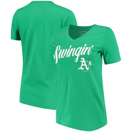 b4a2526a2 Oakland Athletics 5th   Ocean by New Era Women s Fields of Fashion Baby  Jersey V-Neck T-Shirt - Kelly Green - Walmart.com