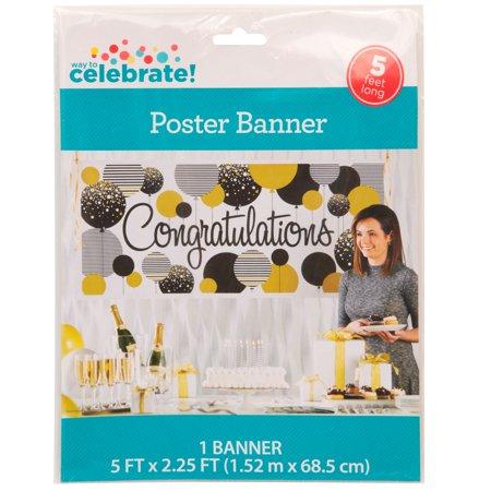 congratulations banner 5 x 2 25 ft gold and black 1ct walmart com