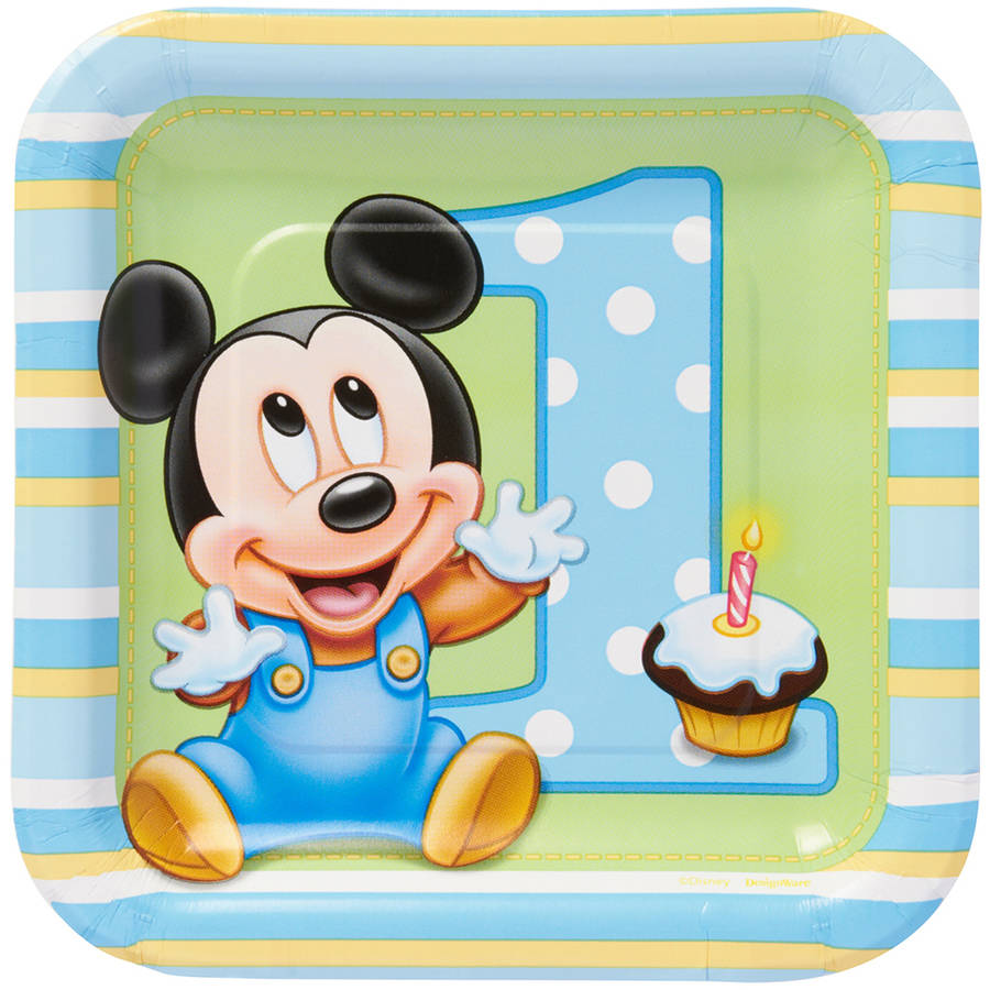 "Mickey Mouse First Birthday 7"" Square Plate, 8 Count, Party Supplies"