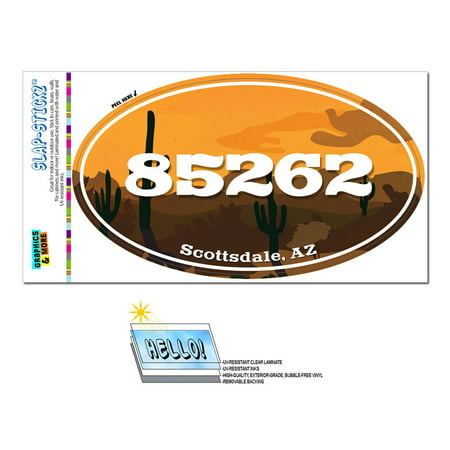 85262 Scottsdale, AZ - Desert Sunset - Oval Zip Code Sticker - Party City Scottsdale Az