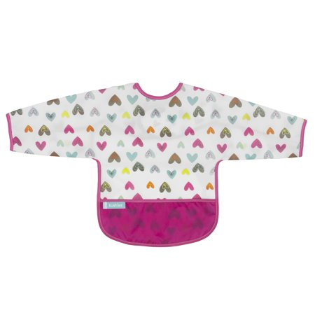 Kushies Cleanbib with Sleeves 12-24M White Doodle Hearts ()