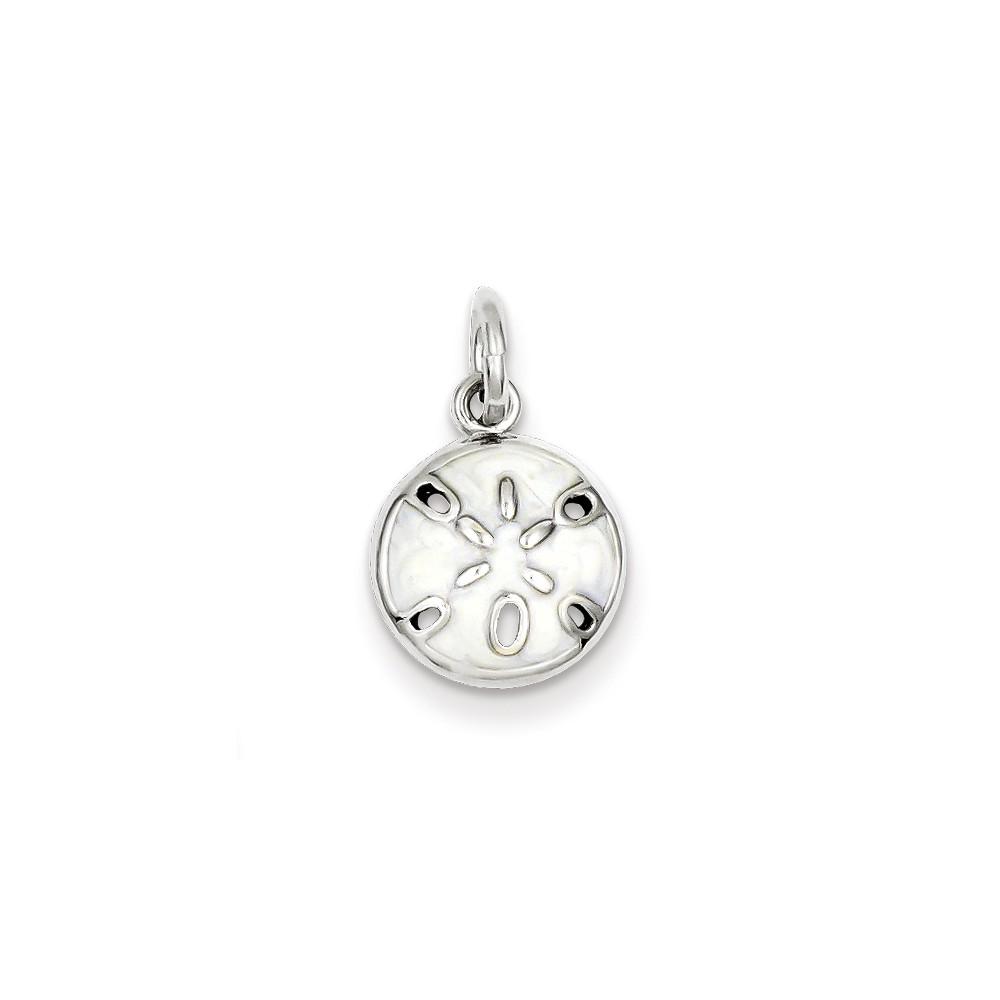 Sterling Silver Enameled White Sanddollar Charm (0.5in long x 0.4in wide)