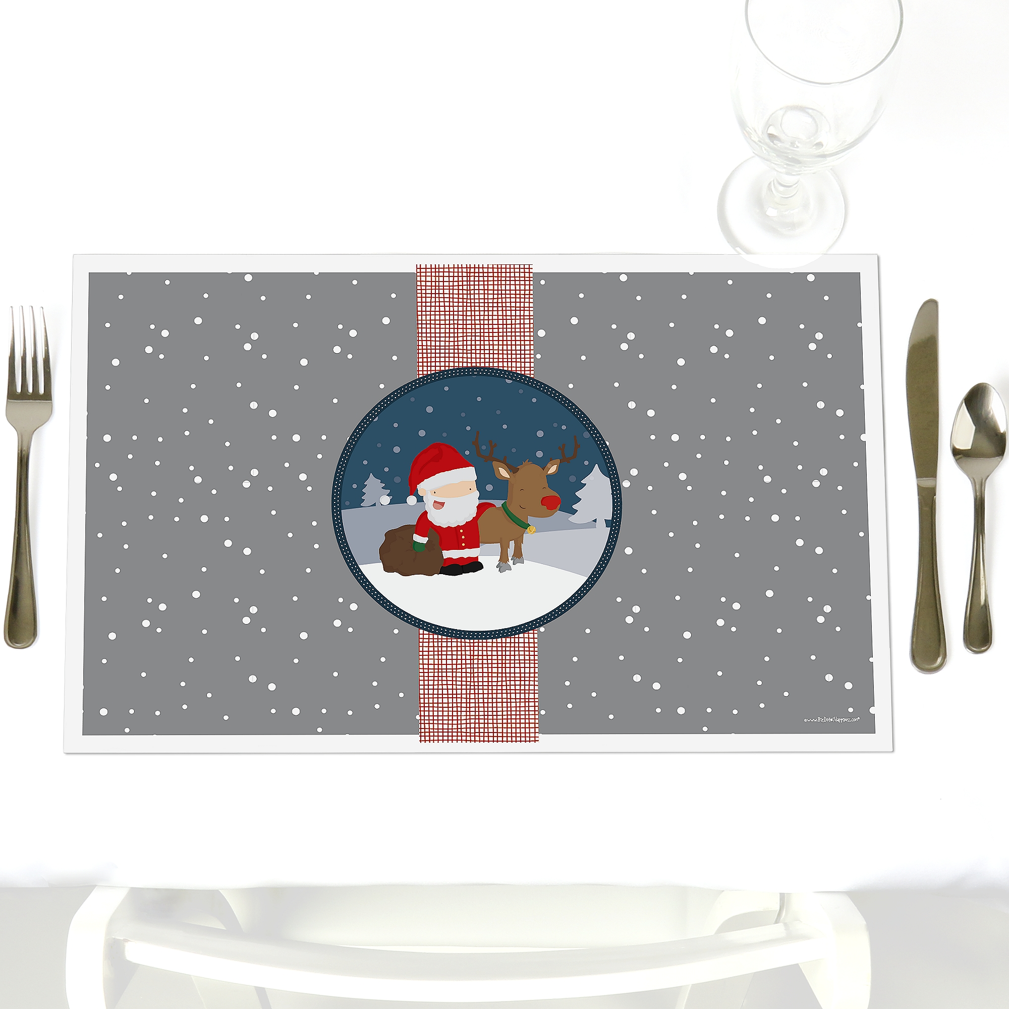 Snowy Santa - Party Table Decorations - Christmas Party Placemats - Set of 12