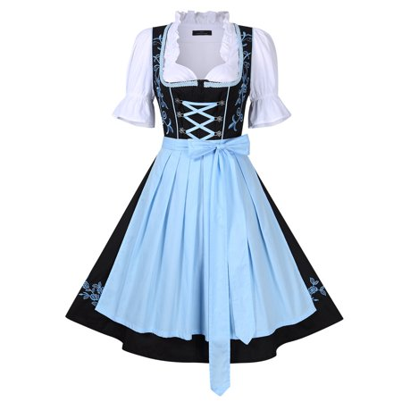 Authentic Bavarian Trachten Mini Dirndl Dress 3-Pieces With Apron and Blouse (Halloween Dirndl Dress)