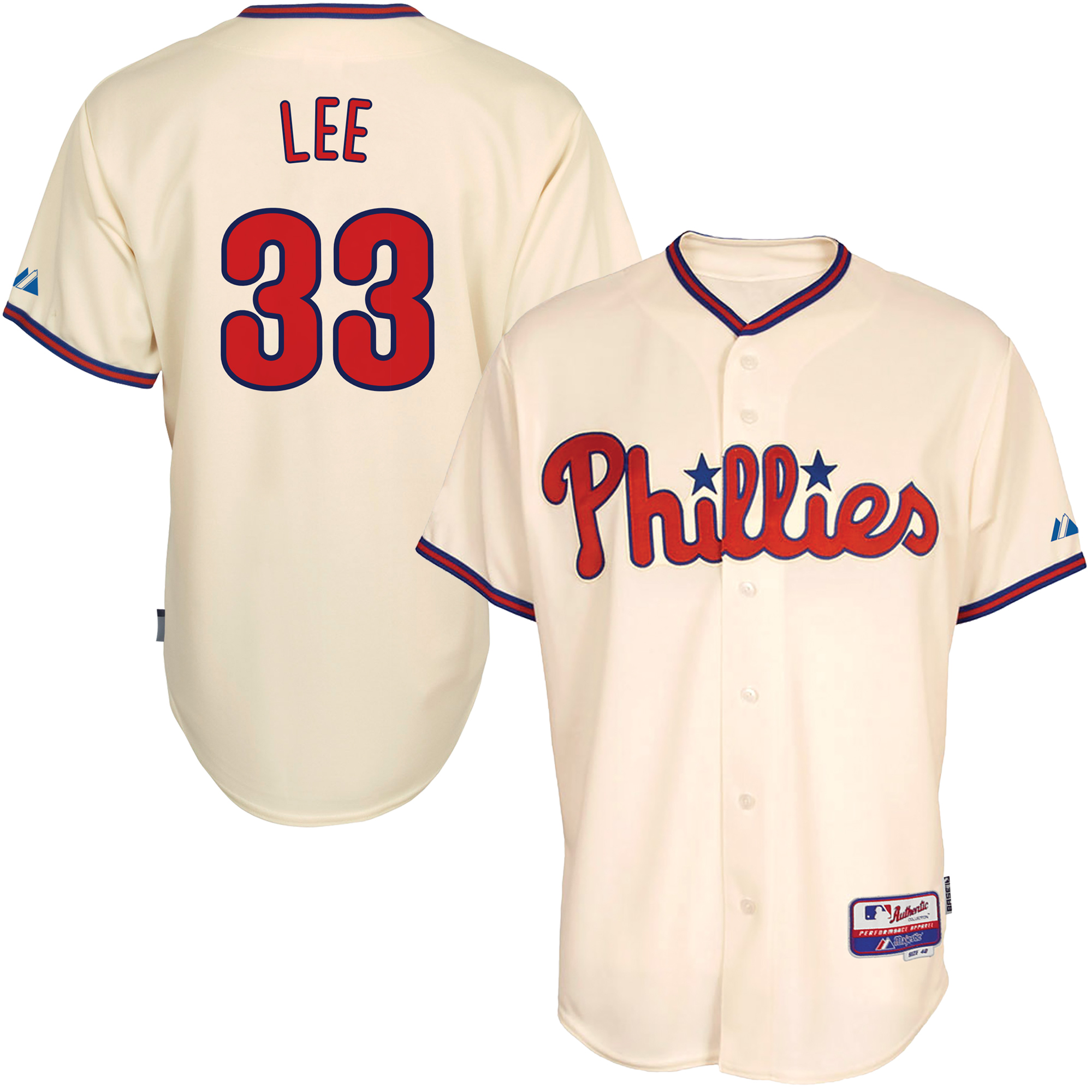 Cliff Lee Philadelphia Phillies Majestic Alternate 6300 Player Authentic Jersey - Tan