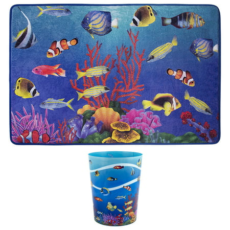 under the sea bath rug wastebasket 2 piece set. Black Bedroom Furniture Sets. Home Design Ideas