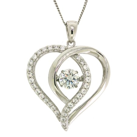 believe by brilliance sterling silver cz open heart
