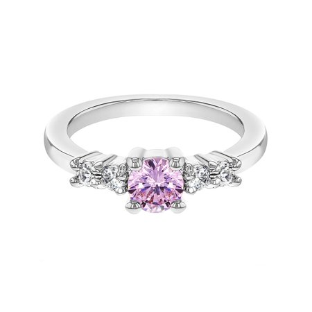 Rhodium Plated Small Clear Pink Crystal Toddler Baby Girl Ring](Little Girls Rings)