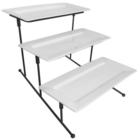 Evelots 3 Tier Rectangular Serving Platter, Cake Tray & Display Plate Rack