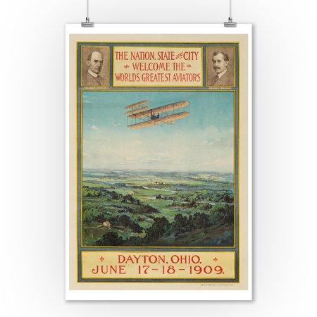Vintage Aviator Wall (Wright Brothers - World's Greatest Aviators - Dayton, Ohio Vintage Poster USA c. 1909 (9x12 Art Print, Wall Decor Travel Poster))
