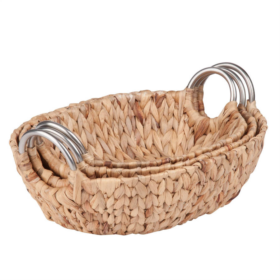 Honey Can Do Oval Water Hyacinth Baskets, Brown (Set of 3)
