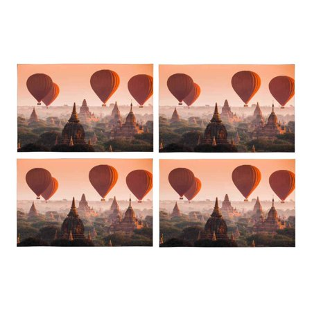 Mkhert Hot Air Balloon Over Myanmar Plain In Misty Morning Placemats