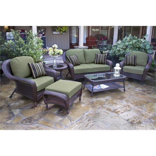 Tortuga Lexington 6 Piece Outdoor Sofa Sets-Tortoise Monserrat Sangria