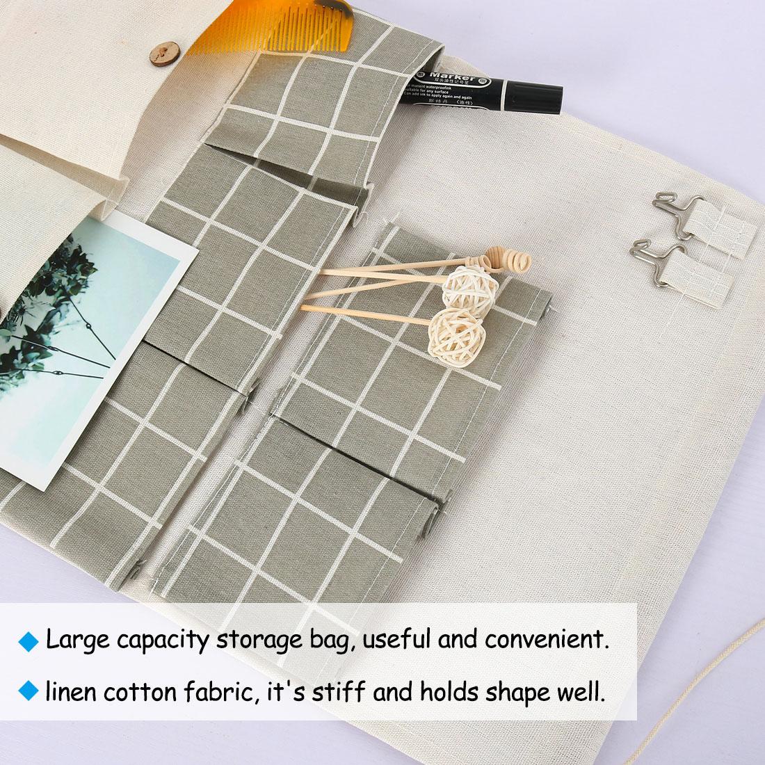 "Closet Foldable Hanging Storage Bag 19.5"" x 13.6"" Organizer Gray Square Pattern - image 3 de 7"