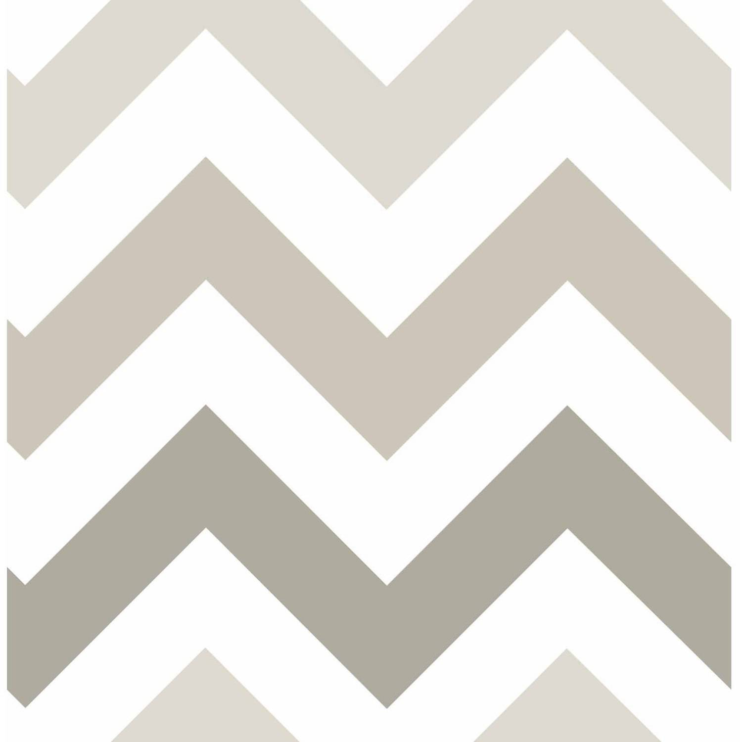 NuWallpaper Taupe Zig Zag Peel & Stick Wallpaper