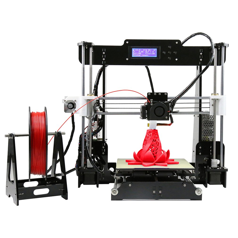 2018 Upgraded Anet A8 DIY High Precision Prusa I3 3d Printer Color Printing Acrylic Frame Mechanical Kit with LCD Screen And Aluminum Structure