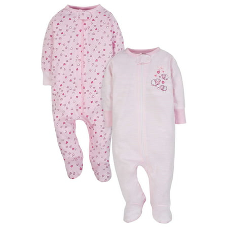 Zip Up Sleep N Play Sleeper, 2pk (Baby Girl) (Baby Girl Owl)