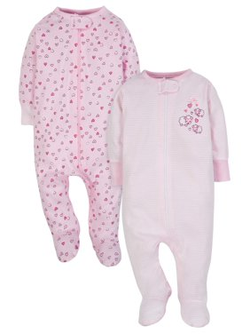 92367dfaf Product Image Wonder Nation Zip Up Sleep N Play Sleeper, 2pk (Baby Girls)