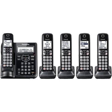 Panasonic Expandable Cordless Phone w/Call Block/Answering Machine - 5  Handsets