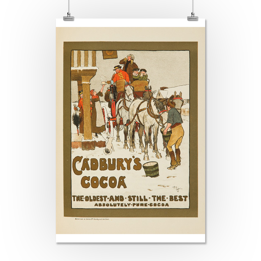 Reproduction Vintage advertising poster Cadburys cocoa Wall art.